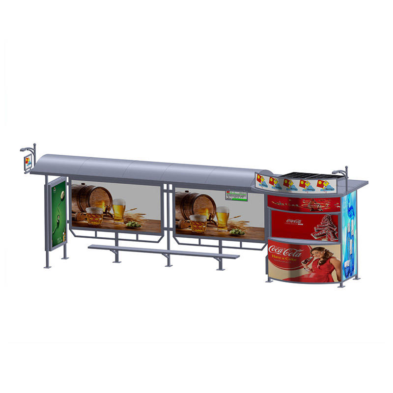 YR-BS-0001 Outdoor stainless steel solar powered advertising bus shelter with vending kiosk