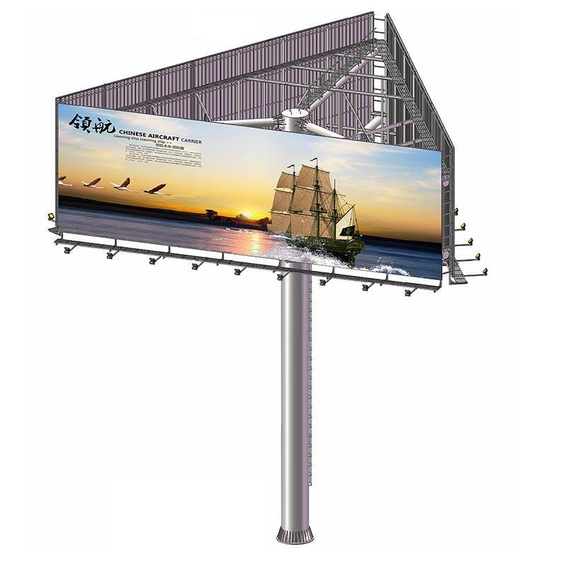 Three-sided highway outdoor advertising steel billboard