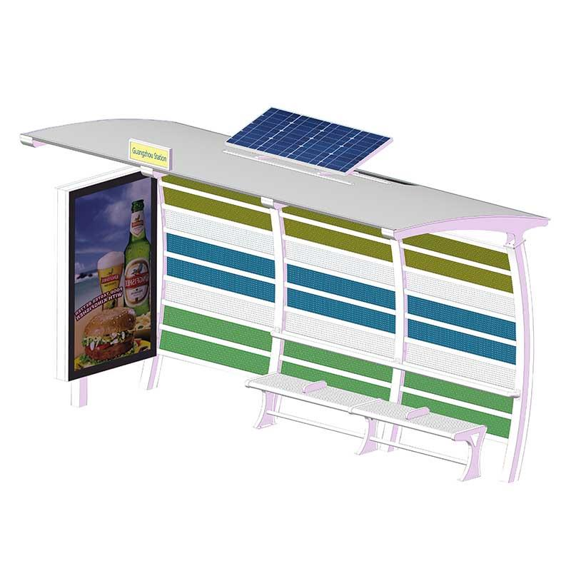 Outdoor steel structure solar powered bus shelter YR-BS-0005