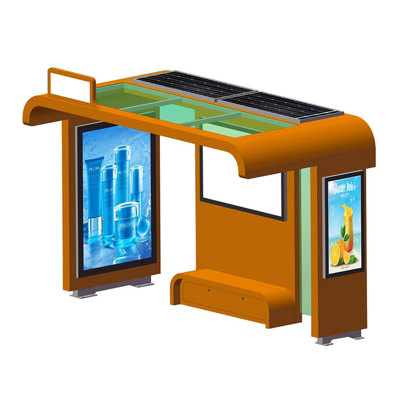 YR-BS-0006 Outdoor steel structure solar powered bus shelter with recharge socket YR-BS-0006
