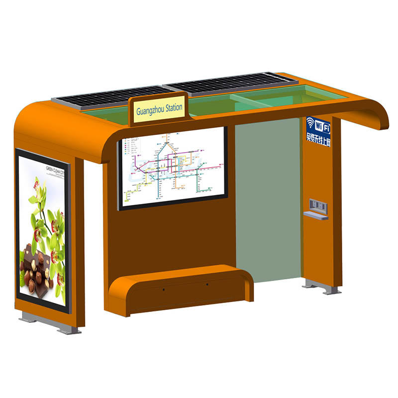 Outdoor steel structure solar powered bus shelter with recharge socket YR-BS-0006