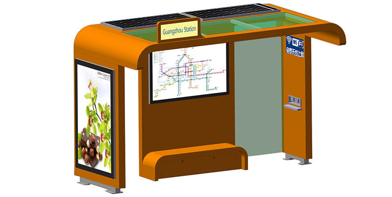 parking lot solar powered bus stop trash for bus stop