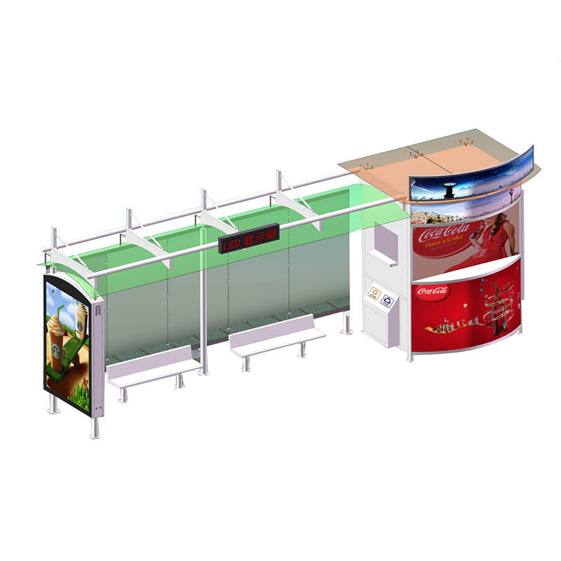 Outdoor smart bus shelter with digital advertising YR-BS-0007