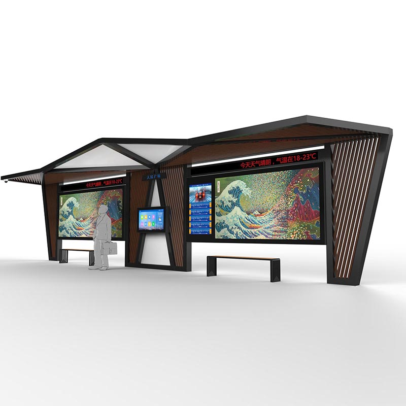 YEROO-Outdoor smart bus stop shelter with mobile charger YR-BS-0008-1