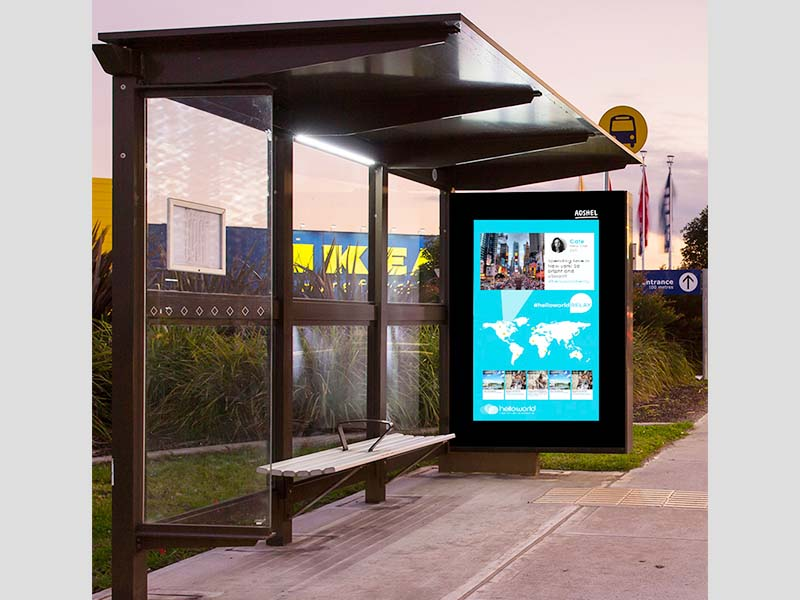 YEROO-Bus Stop Shelter, Outdoor Stainless Steel Advertising Bus Shelter-23