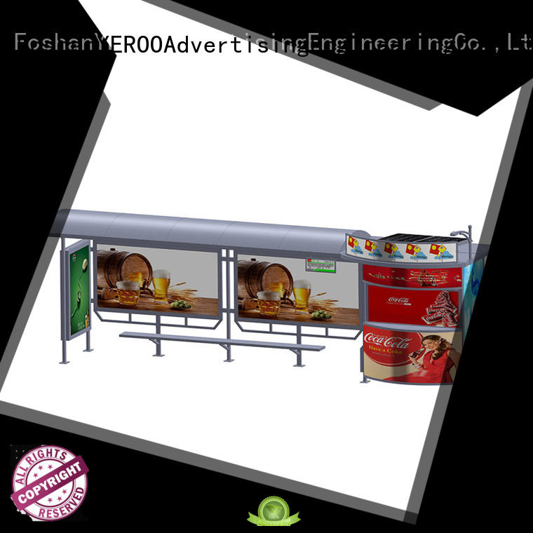 YEROO energy-saving solar powered bus shelter outdoor advertising for outdoor ads