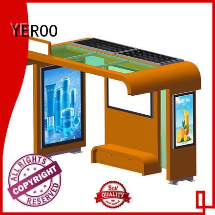 YEROO energy-saving solar bus shelter stainless metal material public furniture