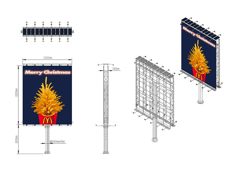 Hot sell outdoor doule side advertising solar powered billboard-3