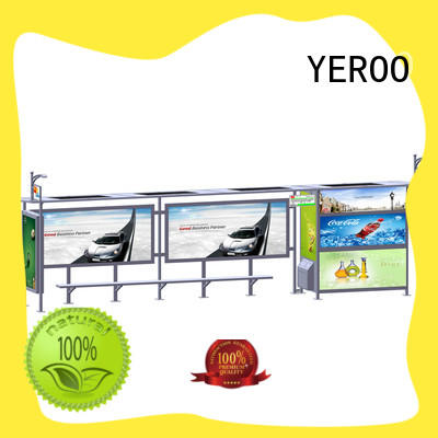trash solar bus stop stainless steel structure for bus stop YEROO