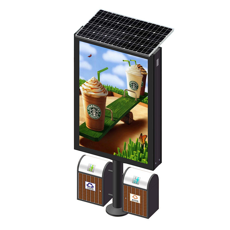 Solar powered aluminum light box with trash can YR-SLB-0003