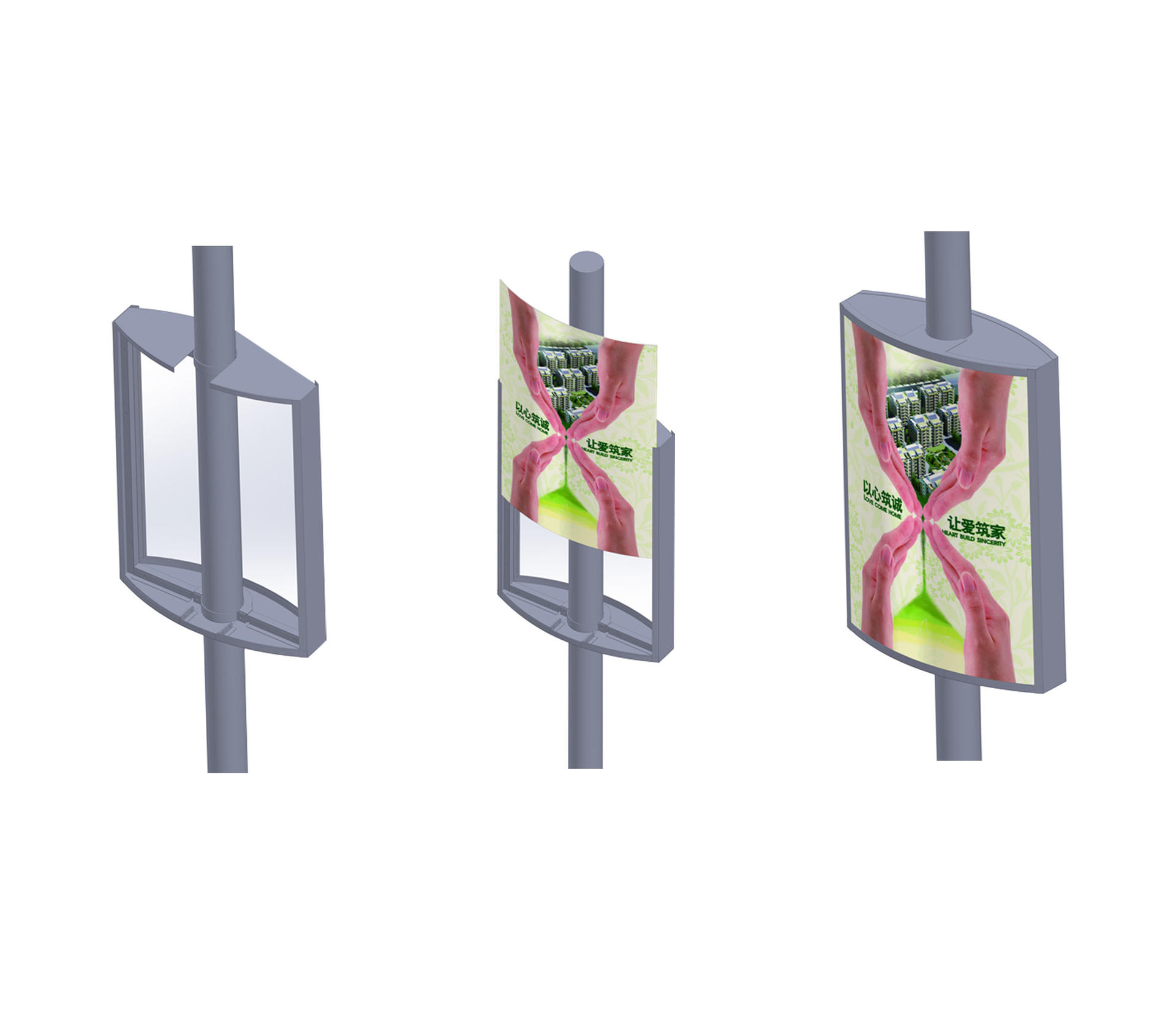 outdoor pole led display vending for outdoor advertising YEROO
