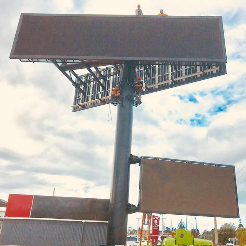 V shaped custom steel outdoor billboard structure for digital LED screen