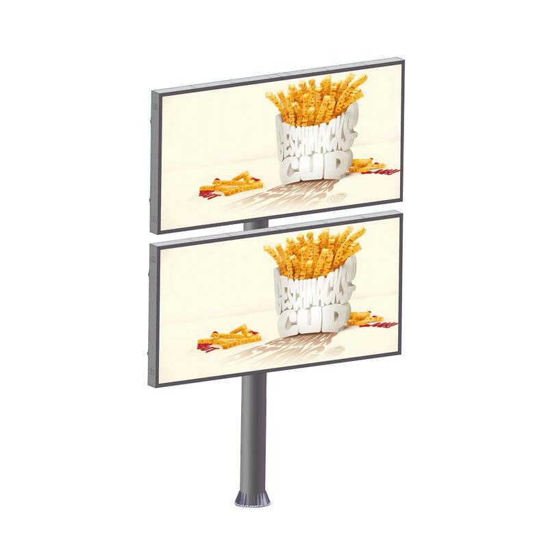 Double Decker Advertising Steel Structure Highway LED Backlit Billboard