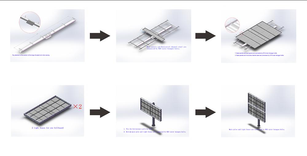 YEROO-Backlit Billboard Double Decker Advertising Steel Structure-16