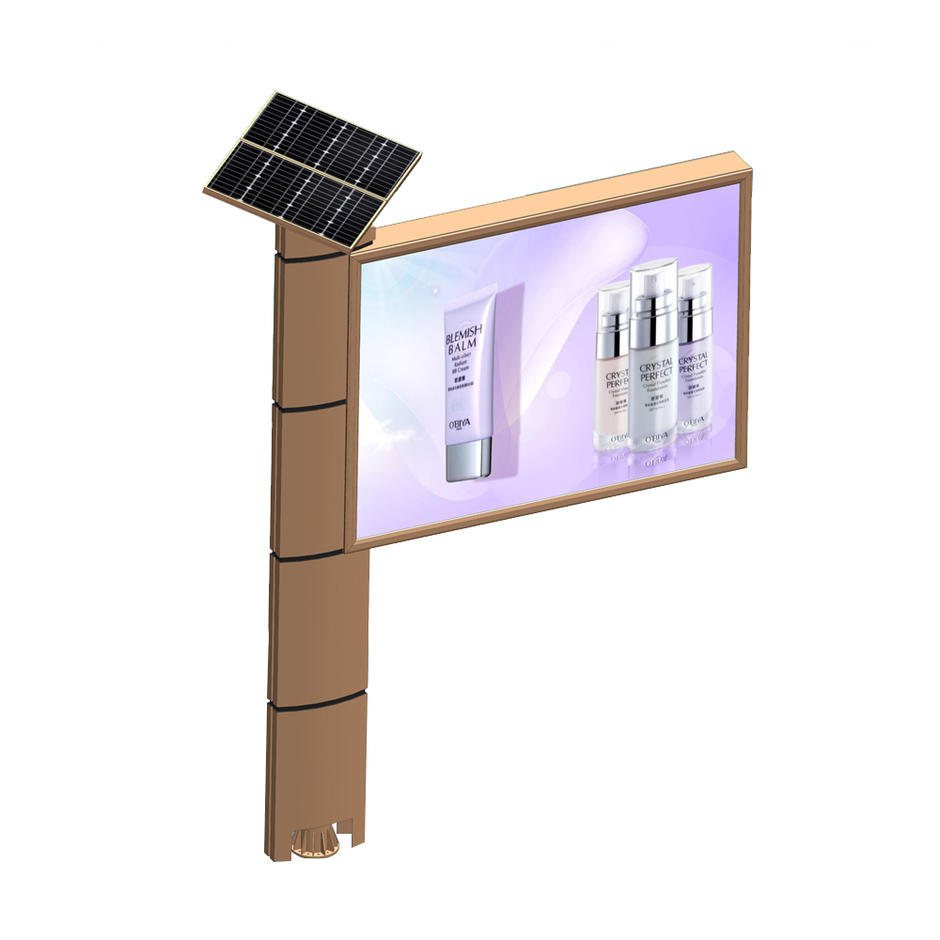 Outdoor free standing solar power billboard structure