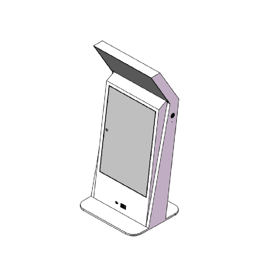 YEROO-AIT-0004 indoor lcd kiosk digital screen with receipt paper printer