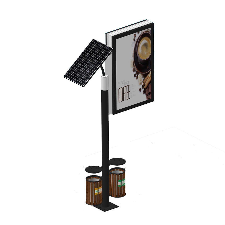 Solar double sided trash bin lamp post city light boxYR-SLB-0005