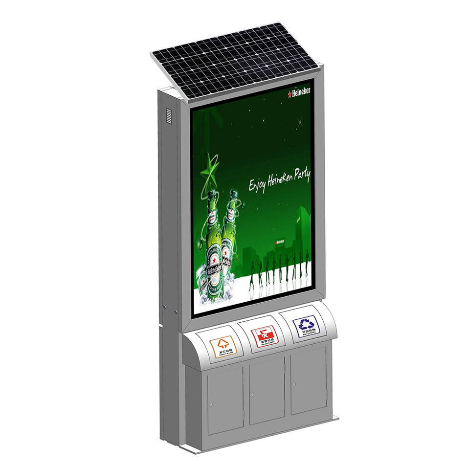 YR-SLB-0008 Double sided stainless steel solar trash can light box