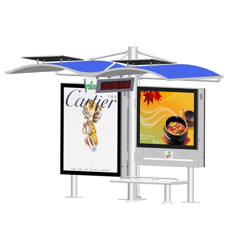 YR-BS-0014 Outdoor metal advertising solar bus shelter