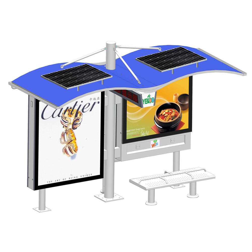 YR-BS-0014 Outdoor metal advertising solar bus shelter