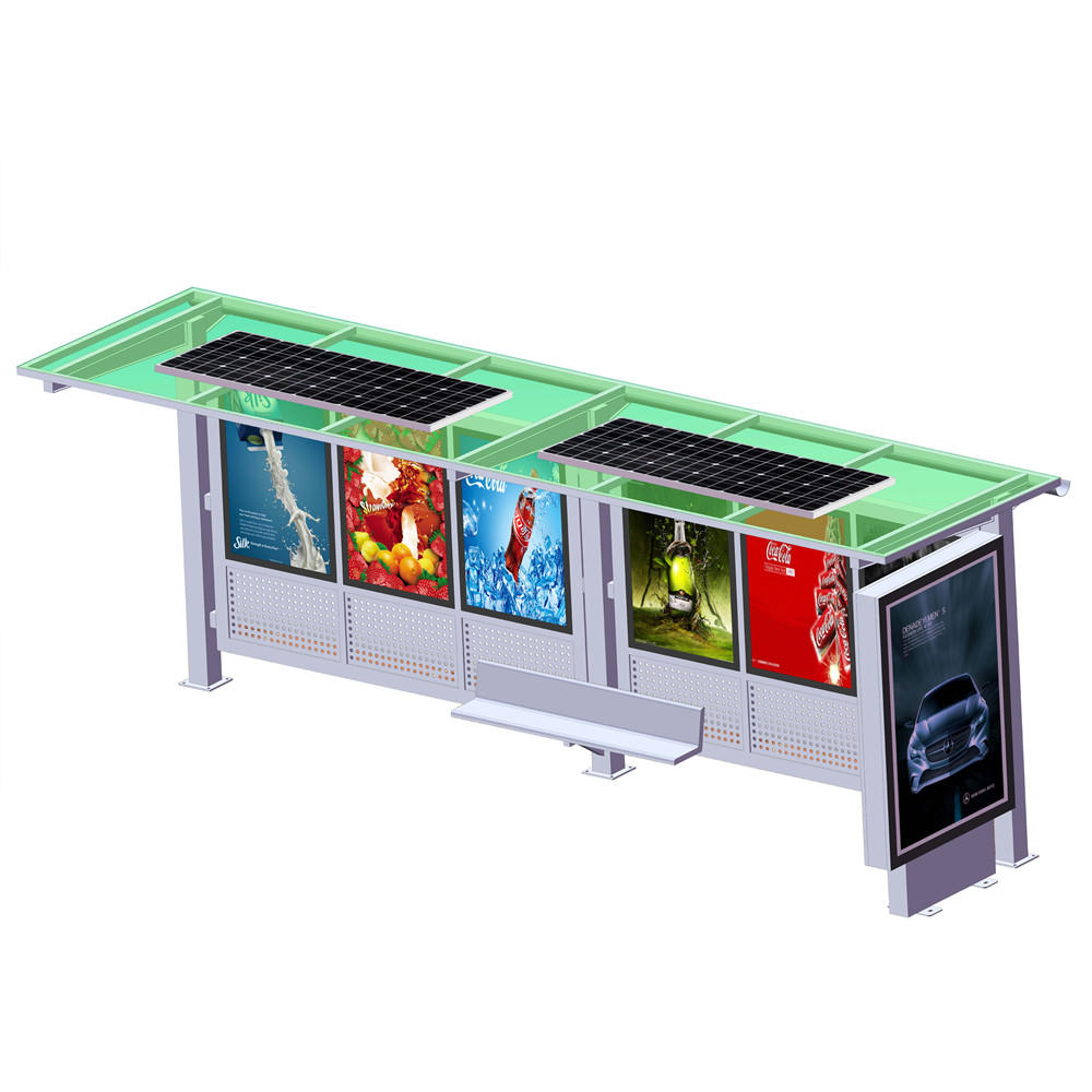 YR-BS-0015 Outdoor advertising metal solar power bus stop shelter