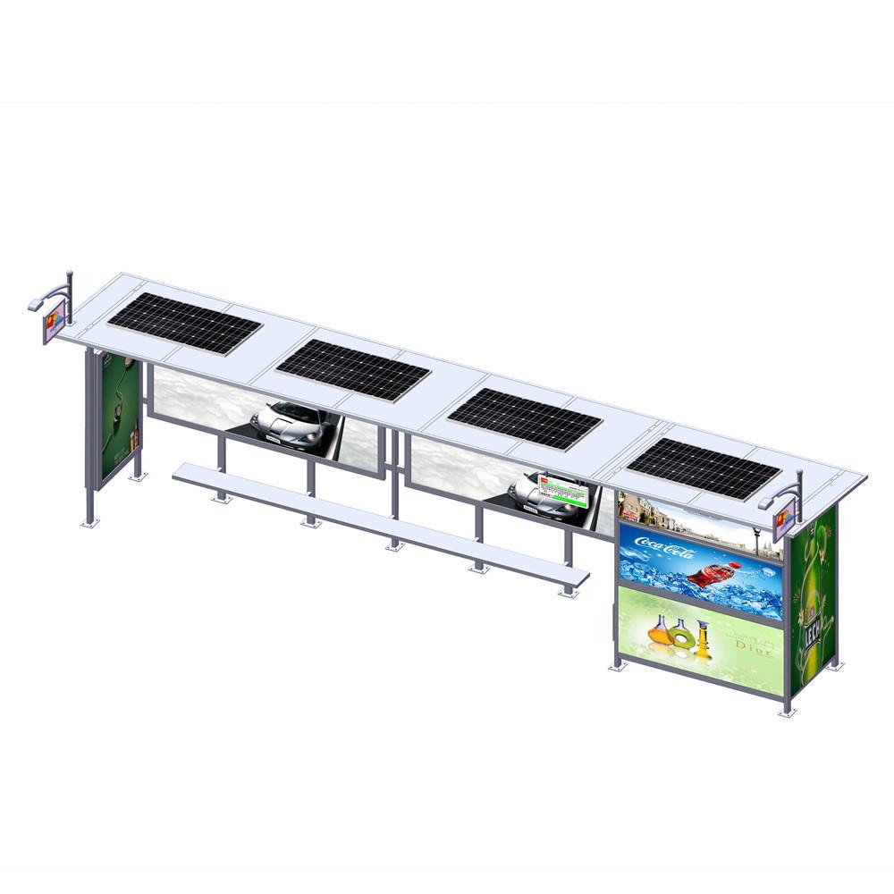 Outdoor advertising solar bus stop with vending kiosk