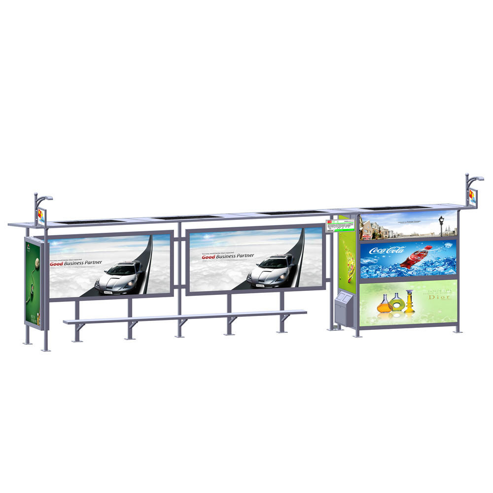 Outdoor advertising solar bus stop with vending kiosk
