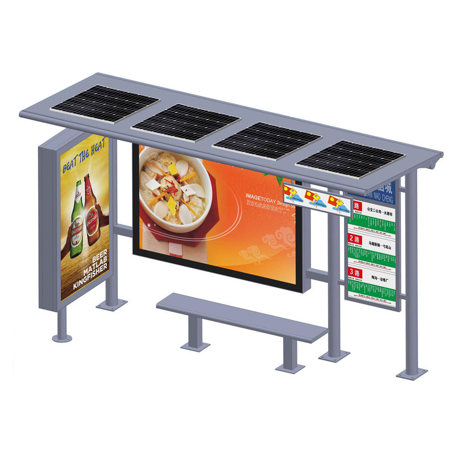YR-BS-0017 Outdoor furniture advertising solar bus stop shelter
