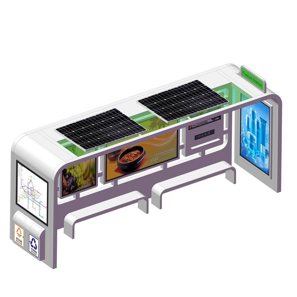 YR-BS-0018 Outdoor solar powered bus stop with trash bin