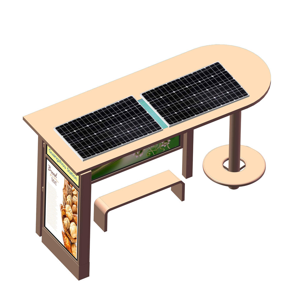 YR-BS-0019 Outdoor advertising steel structure material solar bus stop