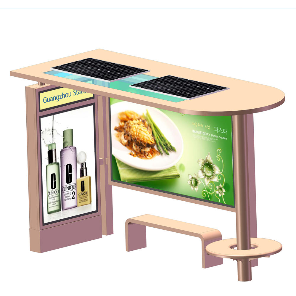 Outdoor advertising steel structure material solar bus stop