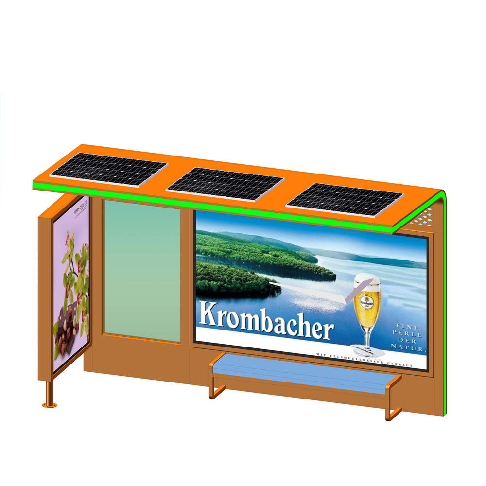 YR-BS-0020 Outdoor customized colar advertising solar bus stop