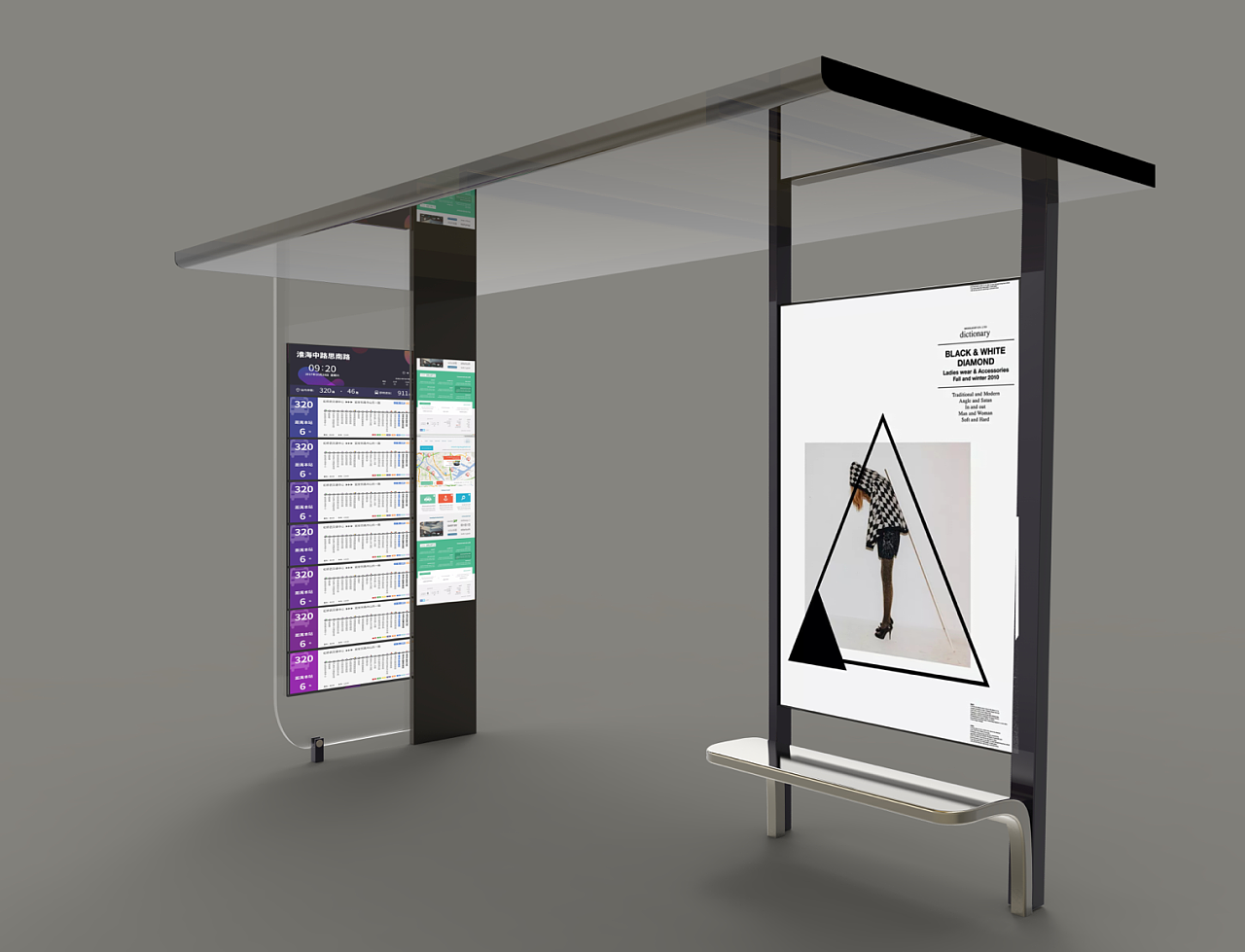 Smart City Smart Metal Bus Stop Shelter Customization