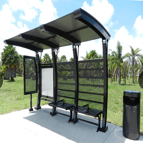 Customized outdoor bus stop shelter with advertising light box