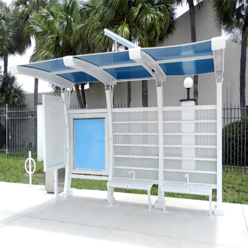 YR-BS-0044 Customized outdoor bus stop shelter with advertising light box