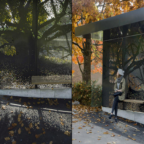 YR-BS-0043 Outdoor advertising street furniture metal bus stop shelter