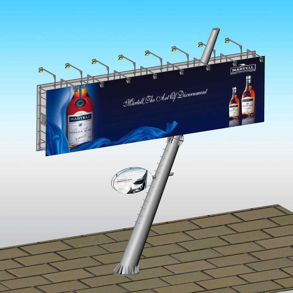 2019 rustproof unipole outdoor billboard steel metal structure design