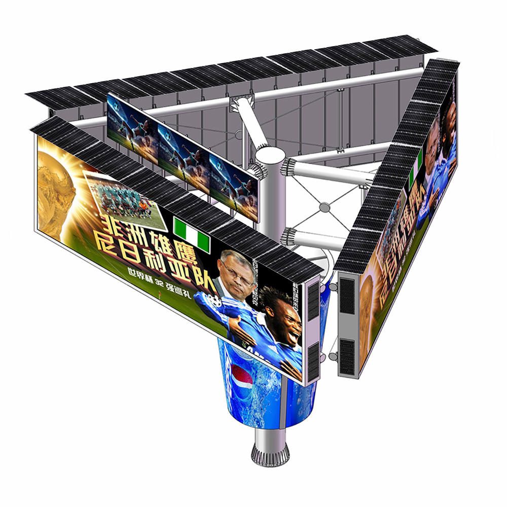 2019 steel structure outdoor three sided unipole billboard