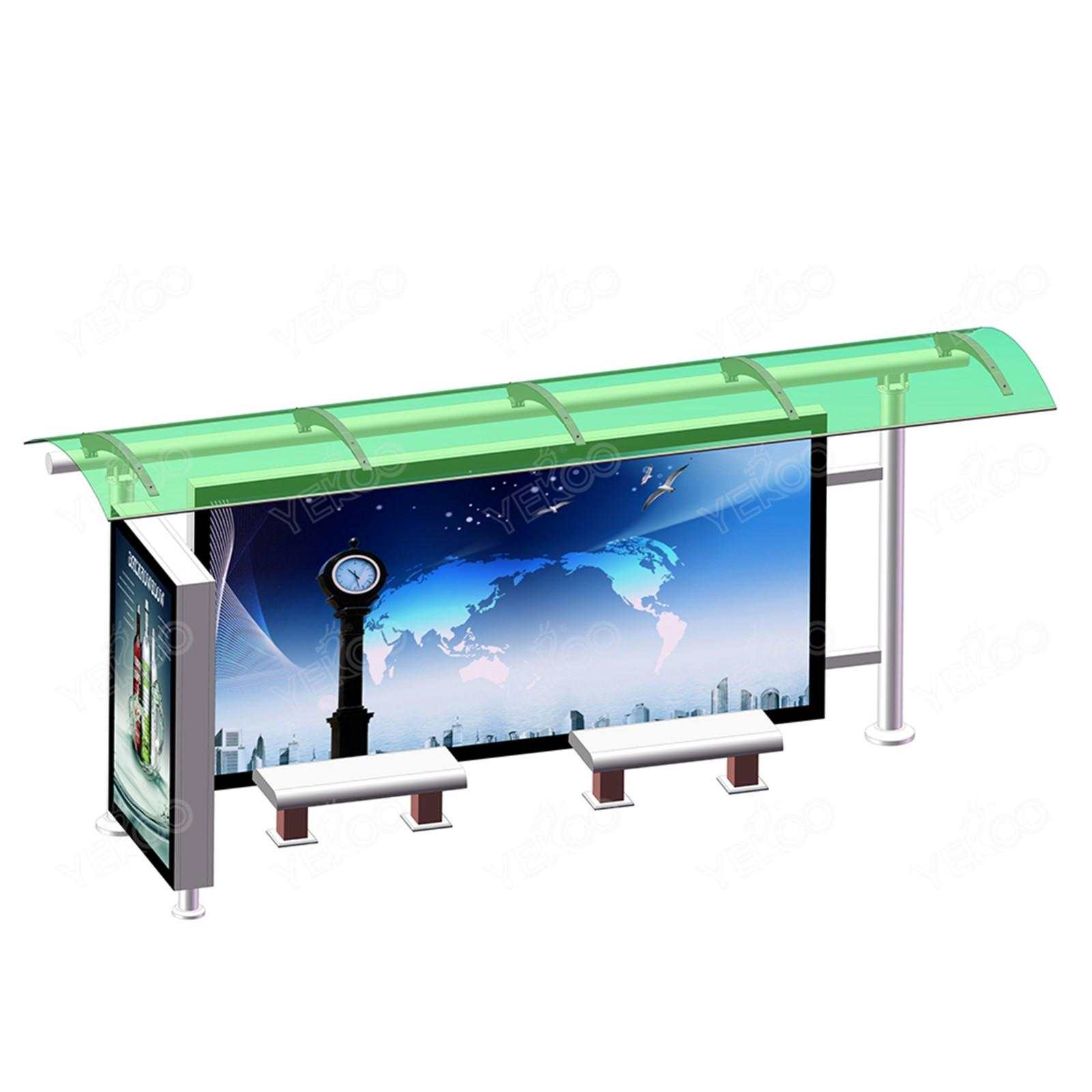 YEROO custom metal bus stop shelter steel structure for outdoor advertising