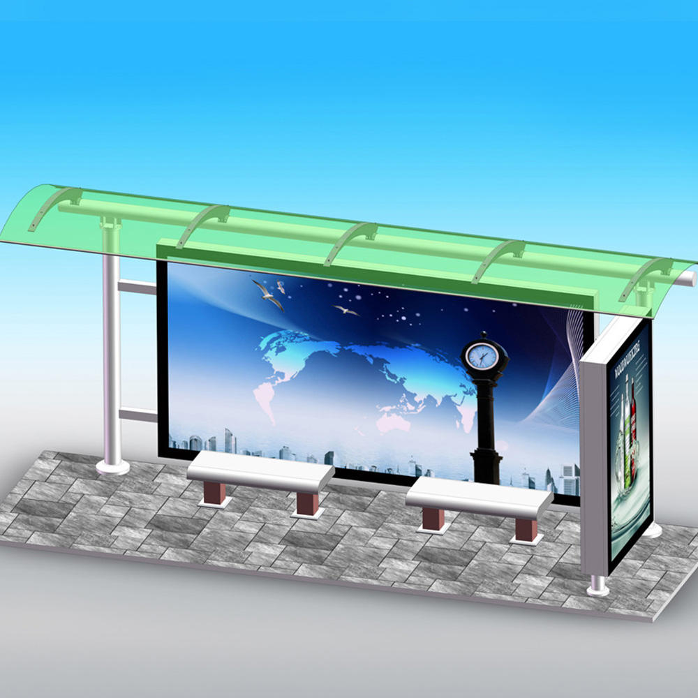 YR-BS-0028 Outdoor advertising light box bus stop shelter station