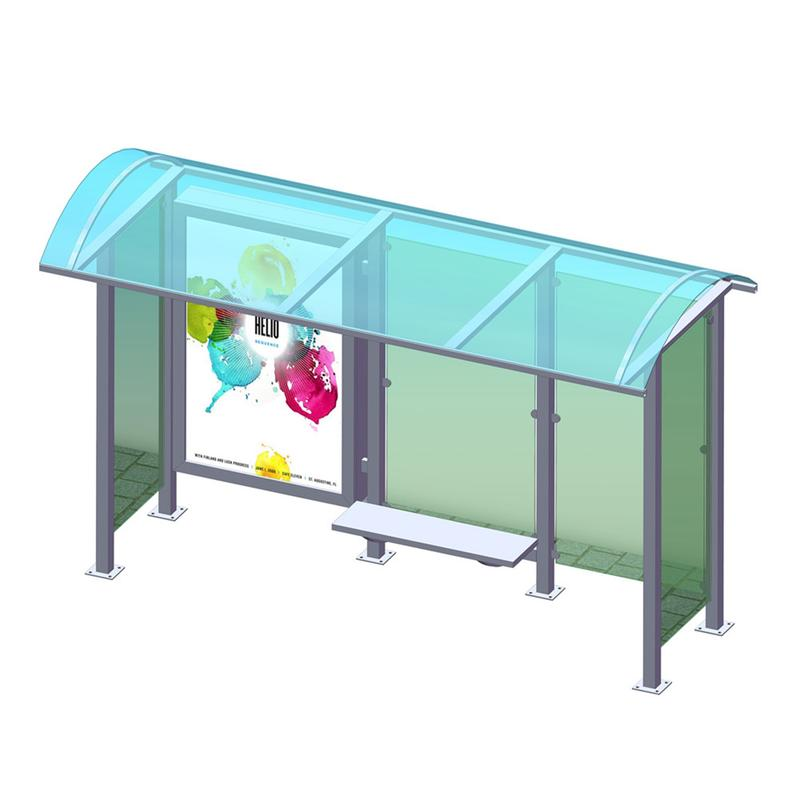 YR-BS-0027 Outdoor advertising bus stop shelter manufacturer