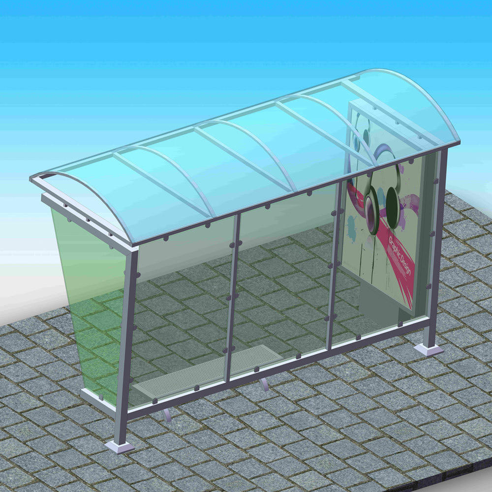 YR-BS-0026 Outdoor advertising bus stop shelter manufacturer