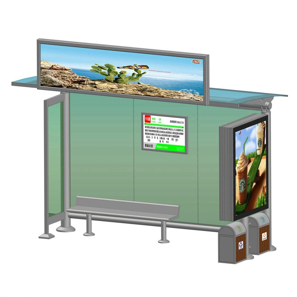 YR-BS-0025 Outdoor advertising bus stop shelter manufacturer