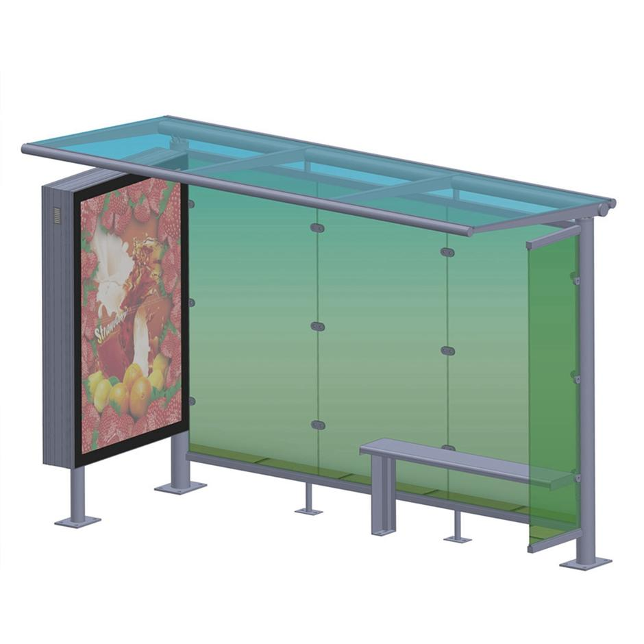 Outdoor advertising metal bus stop shelter