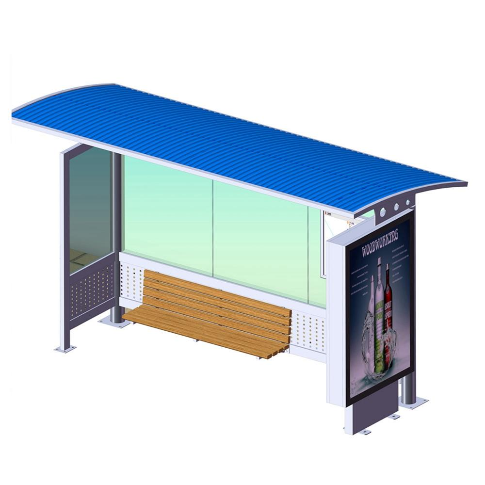 YR-BS-0023 Outdoor stainless steel bus shelter stop station