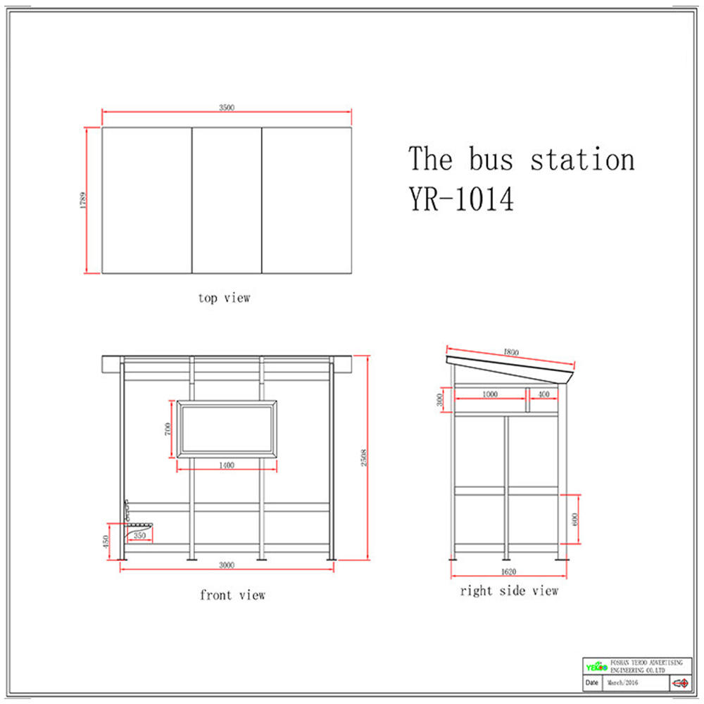 Outdoor suburb bus shelter YR-BS-0006
