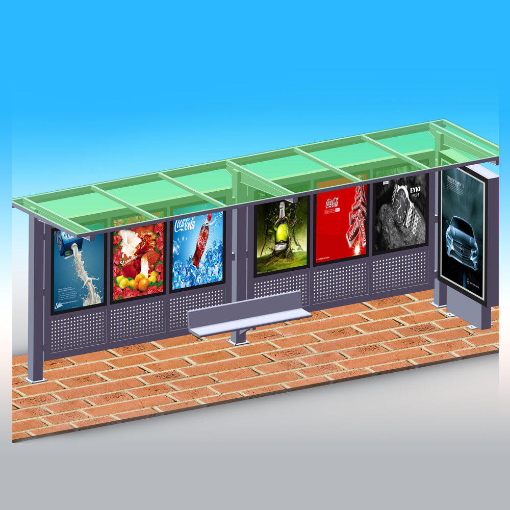 Outdoor steel bus shelter YR-BS-0004