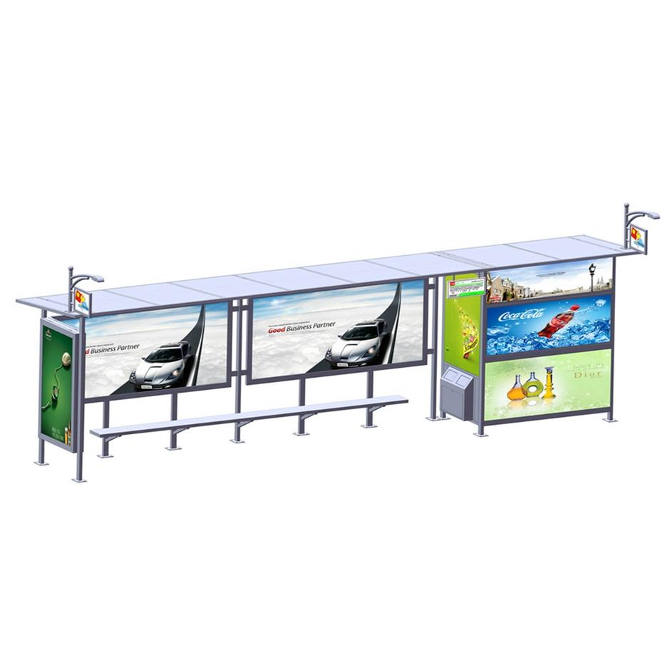 Outdoor stainless steel advertising bus shelter YR-BS-0004