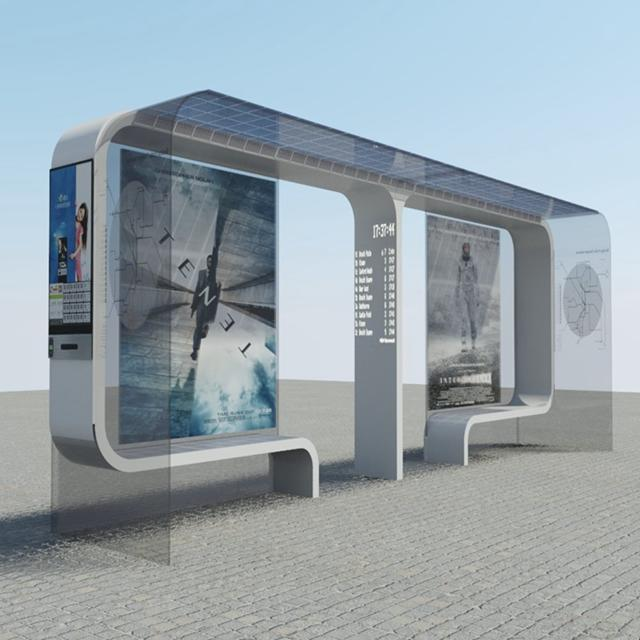 YR-BS-0030 High Quality Solar Bus Stop Shelter for Sale