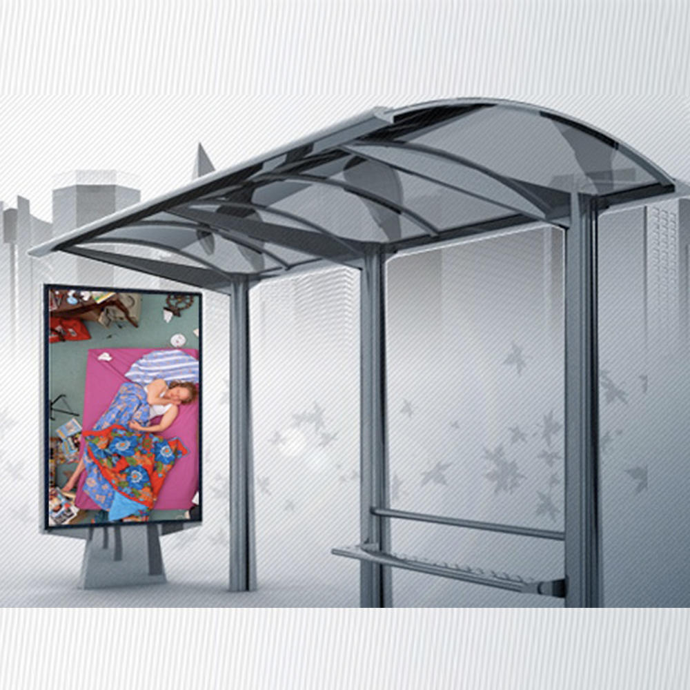 YR-BS-0034 Outdoor Galvanized Steel Bus Stop Shelter With Smart Advertising Function